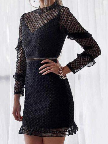 PMS Black / s Sexy Lace Hollow Out Long Sleeve Bodycon Dress Mini Dresses