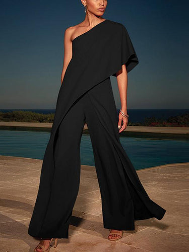 PMS black / s Sexy Single Shoulder Pure Color High-Waisted Wide-Legged Jumpsuit
