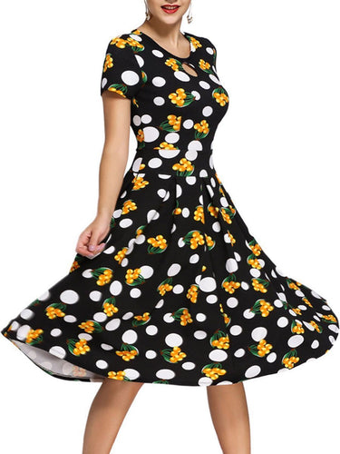 PMS black / s Vintage Polka Dot Printed Keyhole Inverted Pleat Round Neck Skater Dress