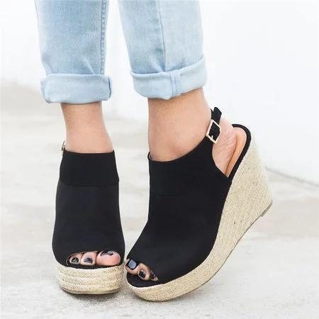 PMS black / us5 Buckle Strap Espadrille Wedges Sandals