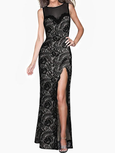 PMS black / xs Round Neck Lace High Slit See-Through Evening Dress