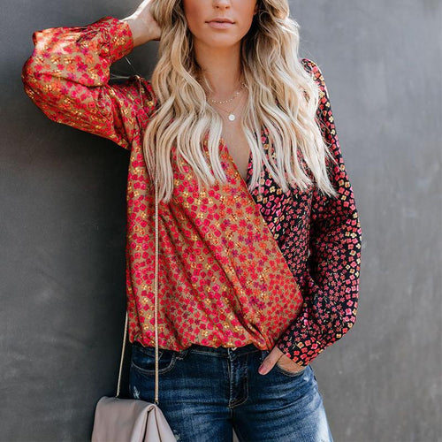PMS Blouses Same As Photo / s V Neck Long Sleeve Floral Printed Patchwork Color Block Blouses
