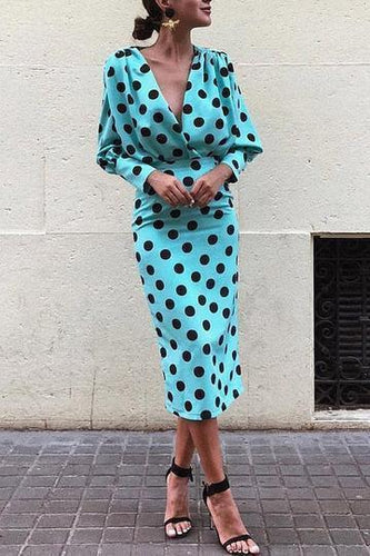 PMS blue / 3xl Dots Print Plunge Lantern Sleeve Maxi Dress