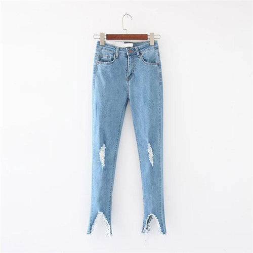 PMS blue / 3xl Slim High Waist Hole Solid Color Casual Jeans Pants