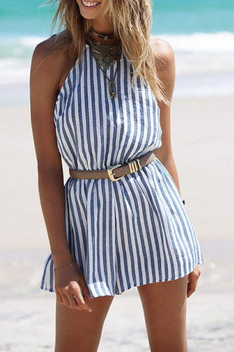 PMS blue / l Halter  Backless  Vertical Striped  Sleeveless Playsuits