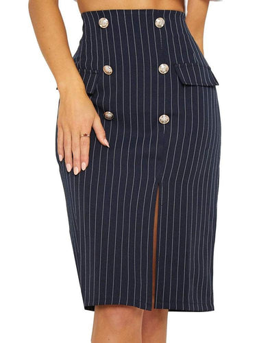 PMS blue / s Elegant Fashion Business Slim Button High Waist Fork Long Skirt