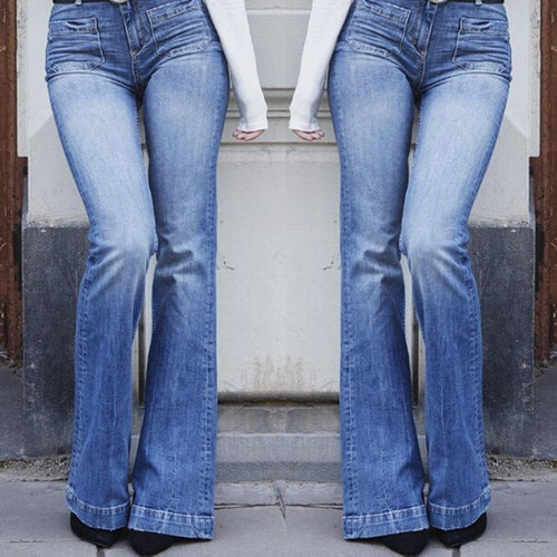 PMS blue / s High Waist Flared Trousers Jeans Pants