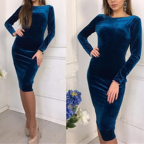 PMS bodycon Blue / s Sexy Long-Sleeved Slim Bodycon Dress
