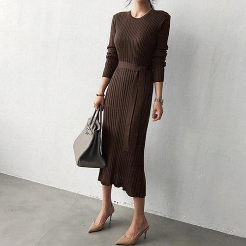 PMS Bodycon Dress Coffee / one size Casual Simple Fashionable Knitted Maxi Dress