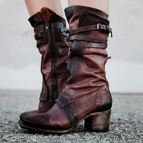 PMS Boots Brown / 35 Chunky  High Heeled  Round Toe  Date Outdoor  Mid Calf High Heels Boots