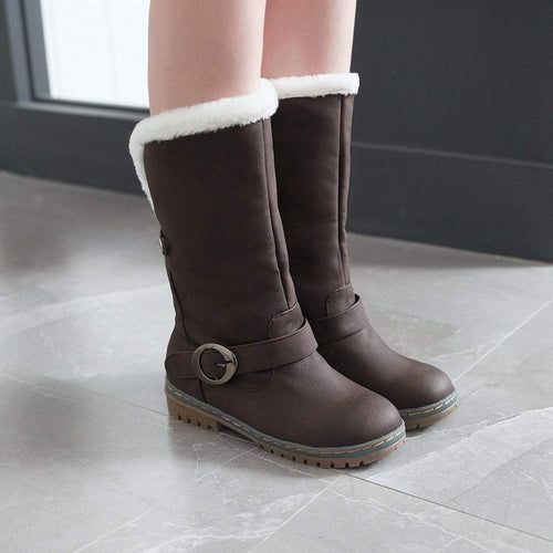 PMS Boots Dark Brown / us5 Fashion Belt Casual Women's Snow Boots