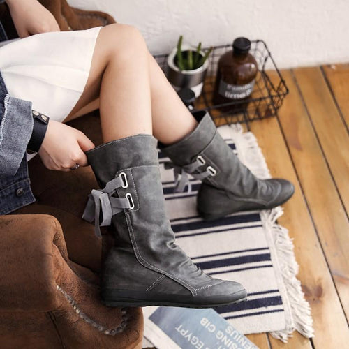 PMS Boots Gray / us5 Fashion Round Head Flat Boots