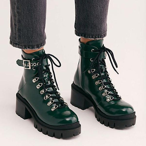 PMS Boots Green / US 5 (Label size 34) Fashion Waterproof Middle Height Heel Boots