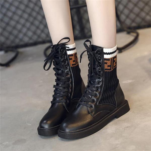 PMS Boots Nifty Casual Fashion Leather Woolen High Tube Martin Boots