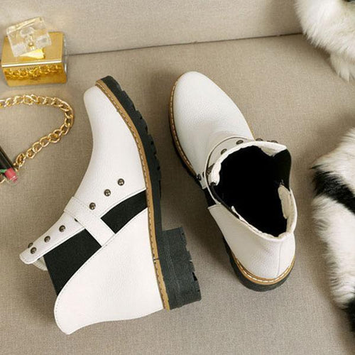 PMS Boots White / us5 Fashion Rivet Round Head Flat Boots