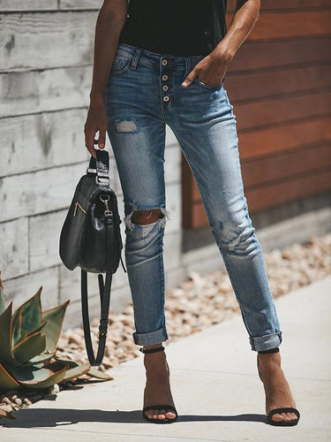PMS Bottoms Light Blue / s High Waist Button Up Ripped Denim Jeans Pants