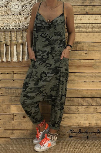PMS BOTTOMS Sexy V Collar Sling Camouflage Loose Jumpsuit