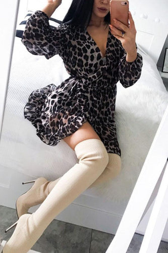 PMS brown_leopard_print / s Deep V Neck  Asymmetric Hem  Leopard  Long Sleeve Casual Dresses