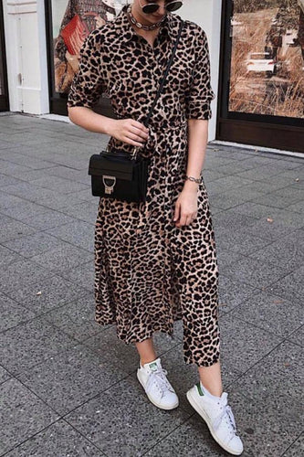 PMS brown_leopard_print / xs Turn Down Collar  Single Breasted  Belt  Leopard  Long Sleeve Maxi Dresses