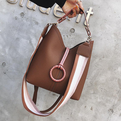 PMS brown / one size Fashion Casual Plain Strip Belt One Shoulder Hand Bucket Bag