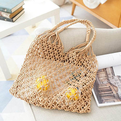 PMS brown / one size Fishing Net Weaving Hand Bag
