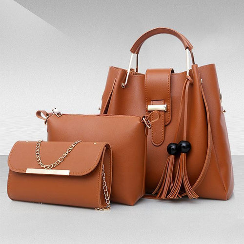 PMS brown / one size PU Pure Color Tassel Three-Piece Bag