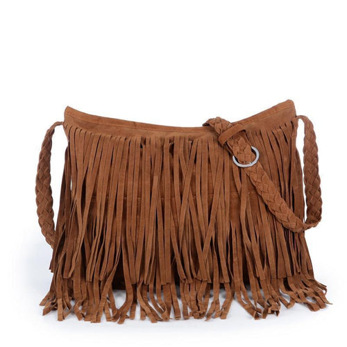 PMS camel / one size Leather Suede Tassel Cross Body Bag