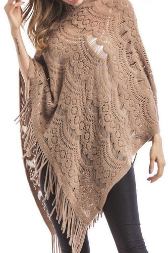 PMS camel / one size Tassel Cloak Knitting Sweater