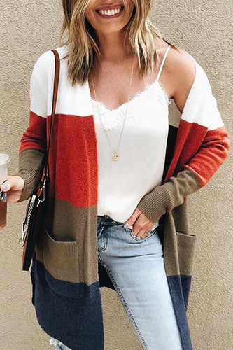 PMS Cardigans Orange Red / s Snap Front  Patchwork Striped Cardigans