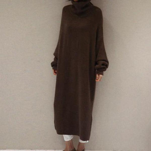 PMS Casual Dress Coffee / one size Fashion Simple And Loose Long Sleeves Knitted Sweater Shown Thin Maxi Dress