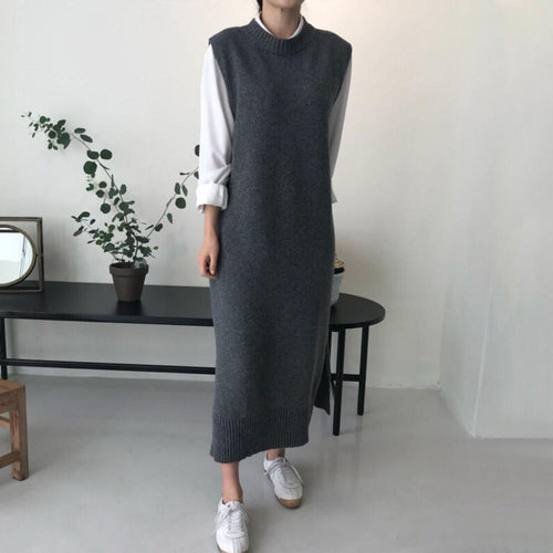 PMS Casual Dress Gray / one size Fashion  Pure Color Long Knitted Vest Maxi Dress