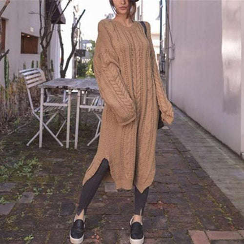 PMS Casual Dress Khaki / one size Casual Loose Long Sleeved Knitted Maxi Dress