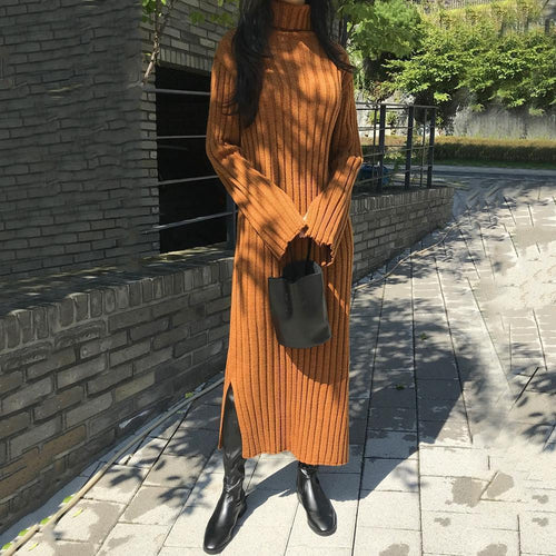 PMS Casual Dress Light Brown / one size Casual Simple High Collar Knitted Maxi Dress