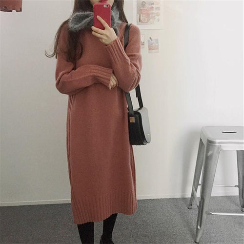 PMS Casual Dress Red / one size Fashion Long Sleeve Loose Flattering Knitted Maxi Dress