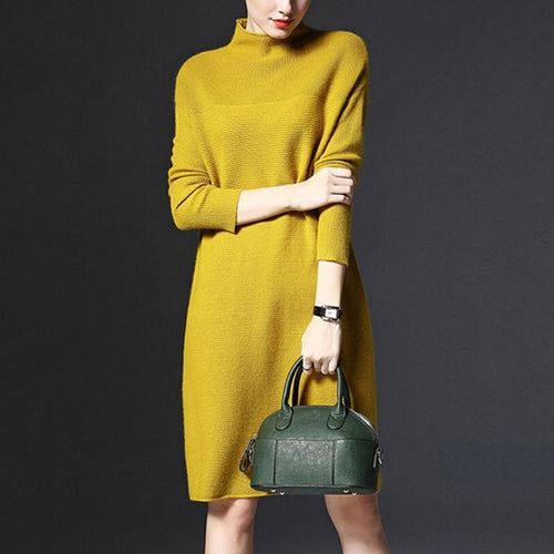 PMS Casual Dress Yellow / m High Neck Plain Knitted Shift Dresses