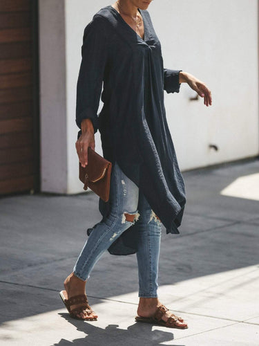 PMS Casual Long Sleeve Loose Pure Colour Casual Dresses