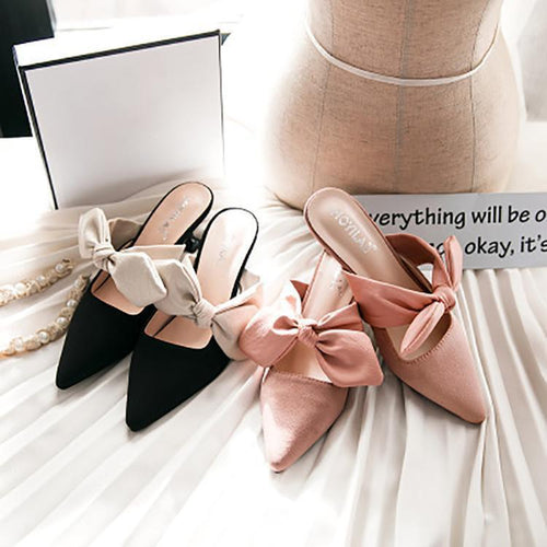 PMS Casual Pointed Slim Heel Mueller Shoes With Bow-Knot
