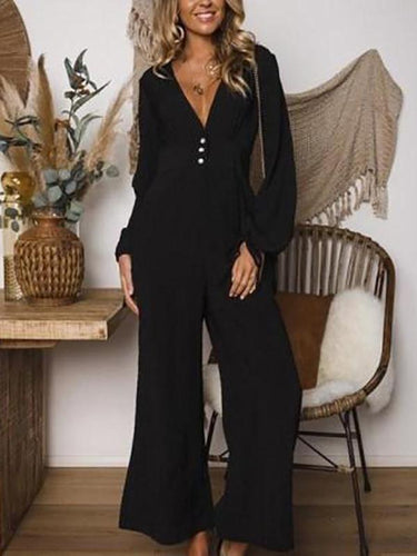 PMS Chic Elegant V-Collar Button Long Sleeve Wide Leg Jumpsuit