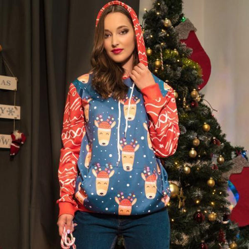 PMS Christmas Round Neck Loose Printed Long Sleeve Hoodies
