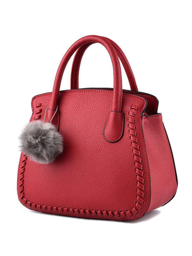 PMS claret_red / one size Fur Ball Plain Pu Handbag