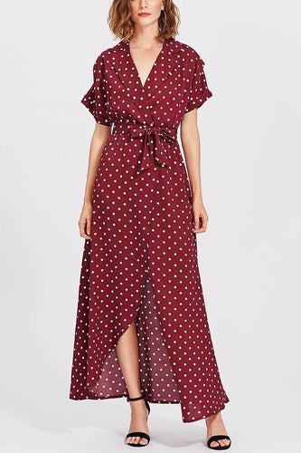 PMS claret_red / s Elegant Sexy Short Sleeves Wave Point Maxi Dress