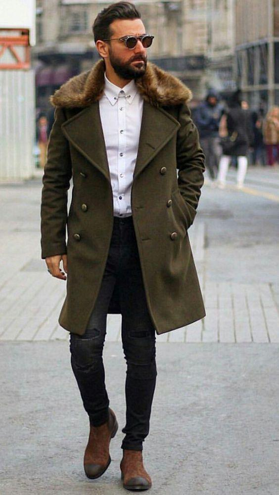 PMS Coat Army Green / m Chic Plain Lapel Collar Button Thicken Woolen Long Coat