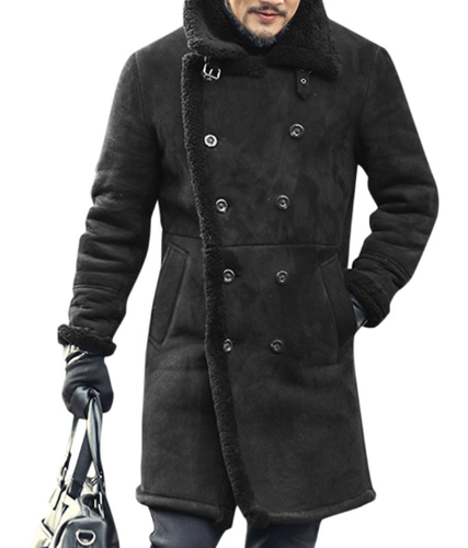 PMS Coat Black / m Fashion Casual Wide Lapel Woolen Double-Breasted Plain Long Coat