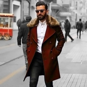 PMS Coat brown / m Chic Plain Lapel Collar Button Thicken Woolen Long Coat