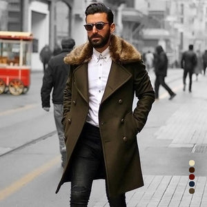 PMS Coat Chic Plain Lapel Collar Button Thicken Woolen Long Coat