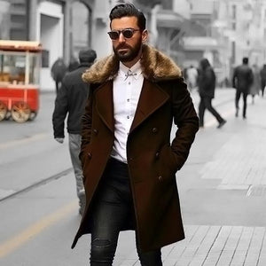 PMS Coat coffee / m Chic Plain Lapel Collar Button Thicken Woolen Long Coat