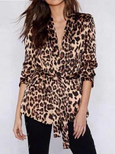 PMS Coat Fashion Leopard Print Long Sleeve Belt Coat