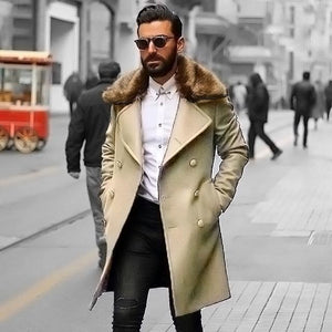 PMS Coat khaki / m Chic Plain Lapel Collar Button Thicken Woolen Long Coat