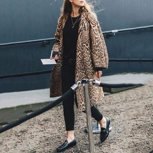 PMS Coat Leopard Print / s Elegant Stylish Loose Leopard Print Long Sleeve Coat Cardigan