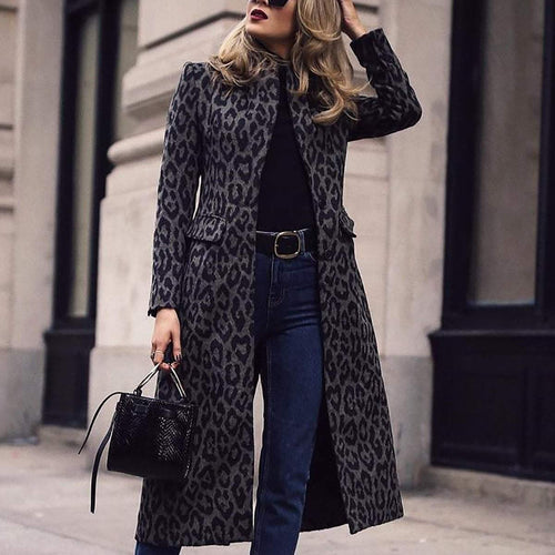 PMS Coat Leopard Print / s Fashion Leopard Print Long Sleeve Coat